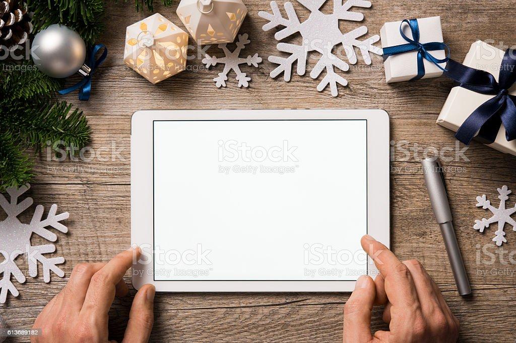 Christmas digital tablet stock photo