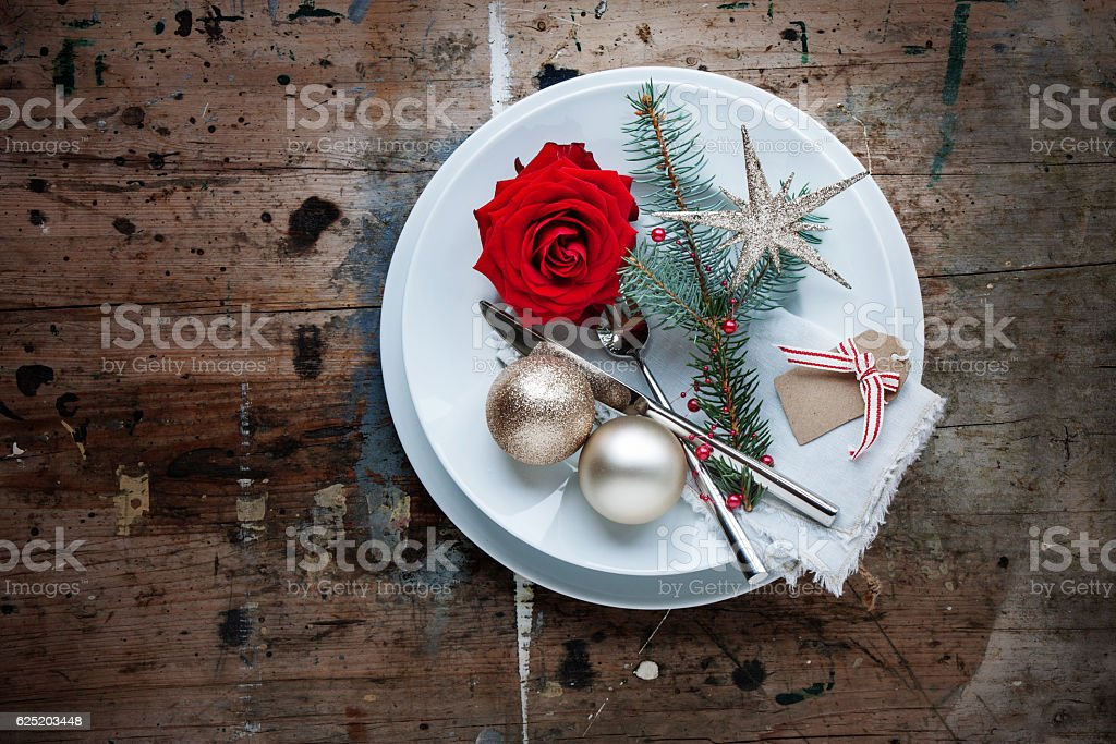 Christmas dinner in shabby chic style stock photo