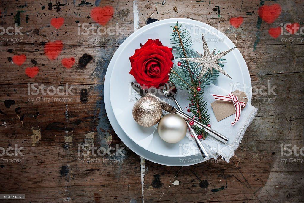 Christmas dinner in shabby chic style with Hearts stock photo
