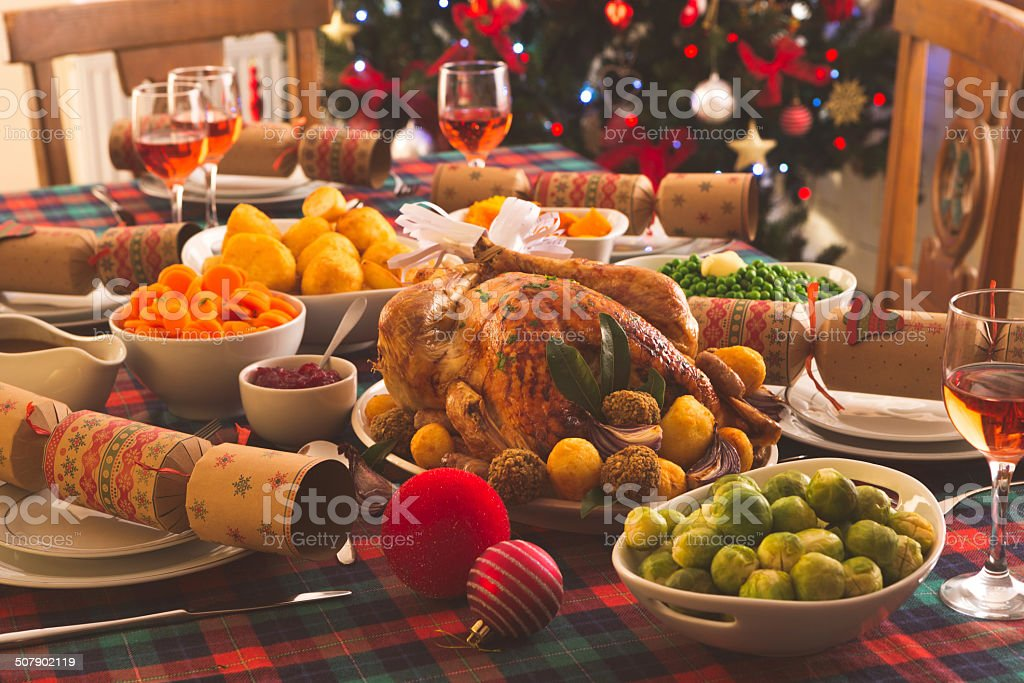 Christmas Dinner Is Served stock photo
