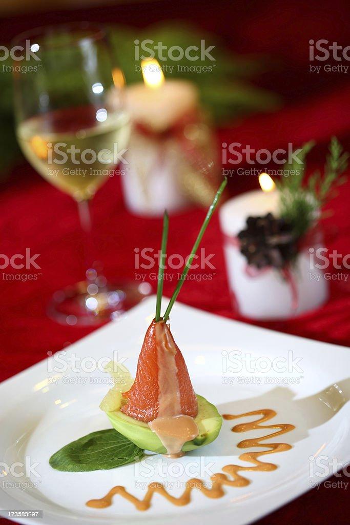 christmas dinner - salmon royalty-free stock photo