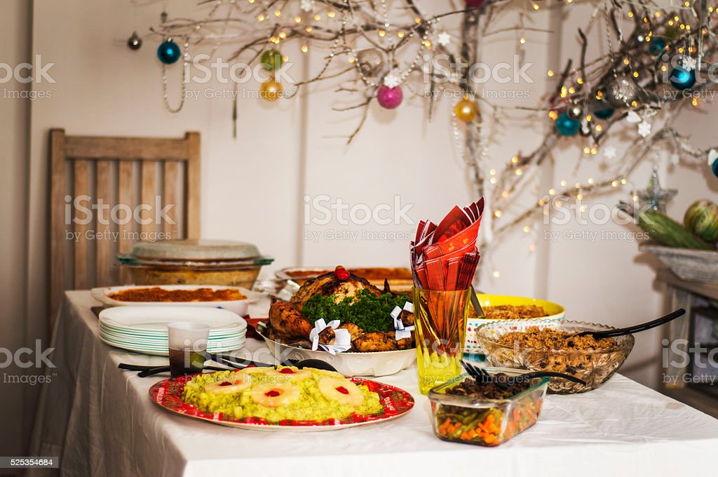 Christmas Dinner Table stock photo