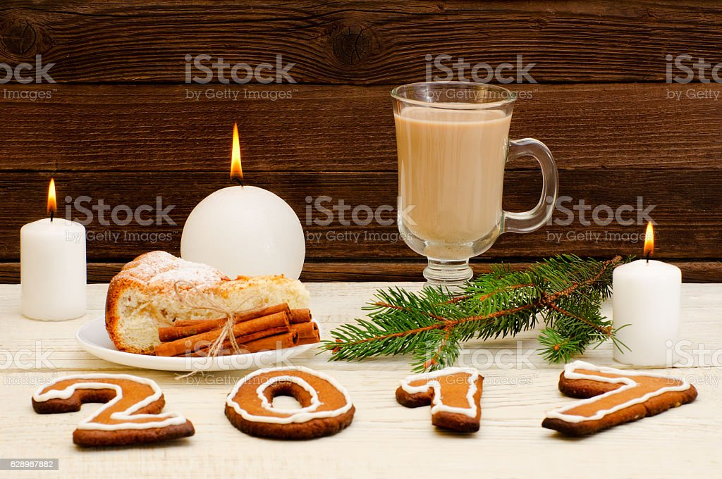 Christmas dinner, the figure in 2017 of gingerbread stock photo
