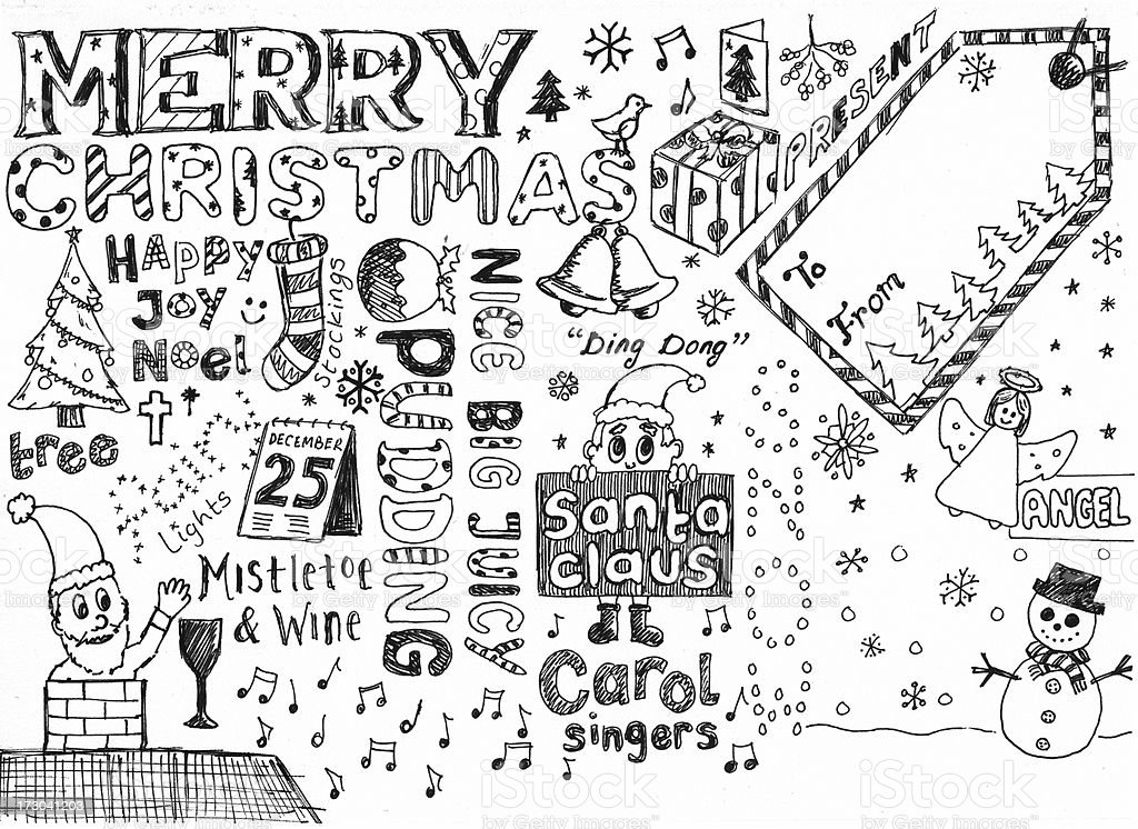 Christmas doodles stock photo