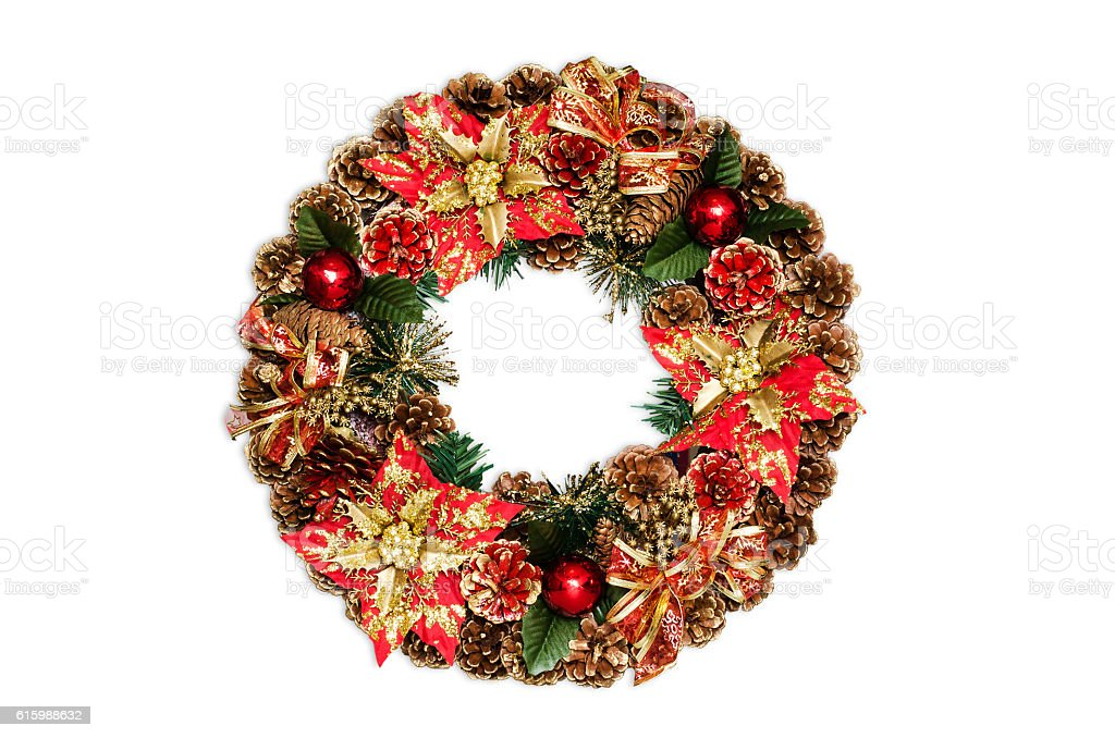 Christmas door decoration isolated on the white background. stock photo