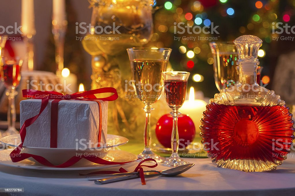 Christmas drinks and presents for long winter nights royalty-free stock photo