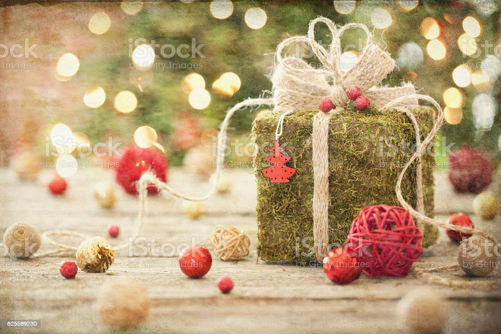 Christmas Eco environmentally friendly, holiday gift, on rustic wood table stock photo