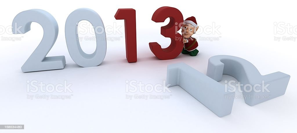 Christmas Elf  bringing in the new year vector art illustration