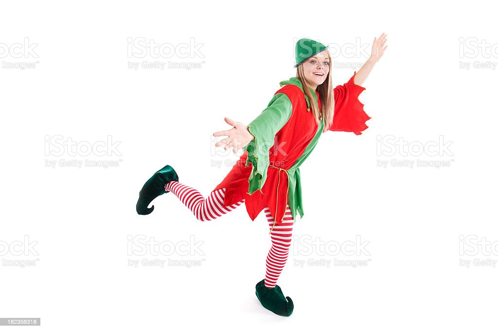 Christmas Elf Dancing on White stock photo