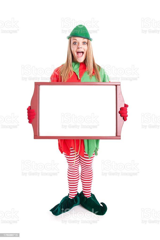 Christmas Elf Holding Framed Blank Sign royalty-free stock photo