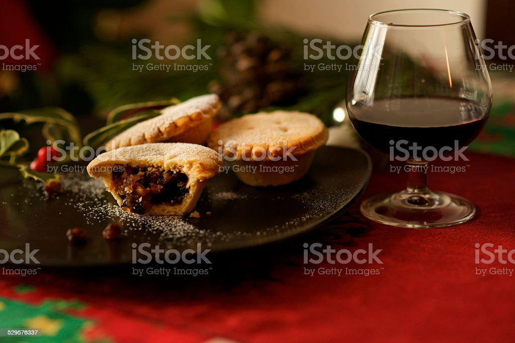 Christmas English Mince pie and mulled wine glass stock photo