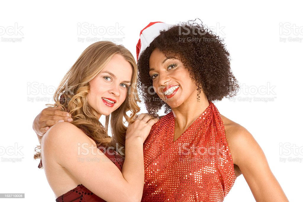 Christmas ethnic Latina Mrs. Santa Claus friend royalty-free stock photo