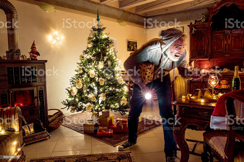 Christmas Eve Burglary stock photo