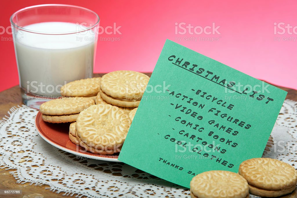 Christmas Eve Cookes & Milk With Wishlist royalty-free stock photo
