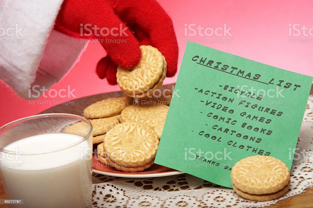 Christmas Eve Cookes & Milk With Wishlist stock photo