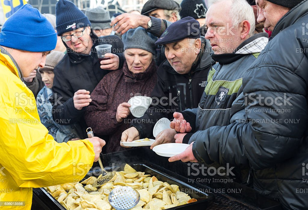 Christmas Eve for poor and homeless stock photo