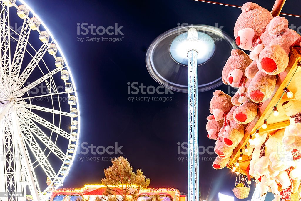 Christmas fair in Hyde park in 2016 stock photo