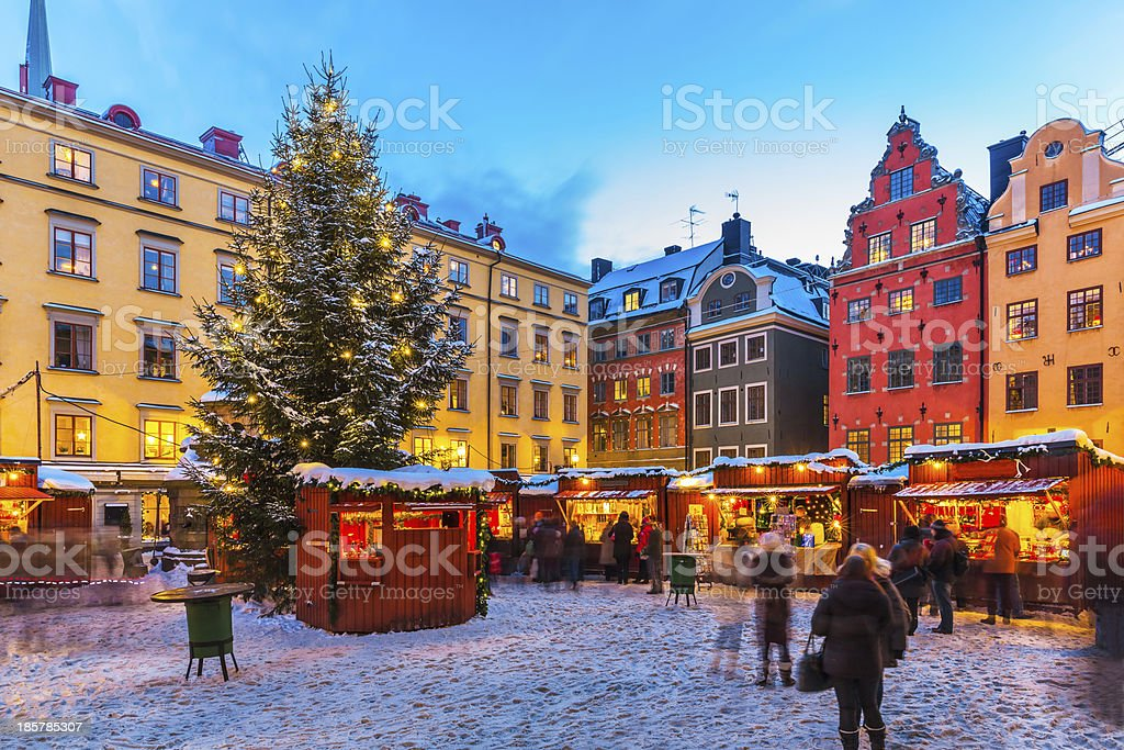 Christmas fair in Stockholm, Sweden stock photo