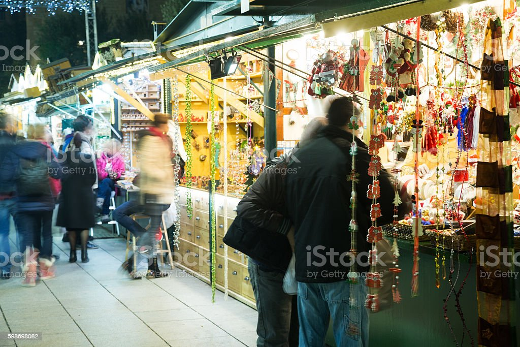 Christmas fair near Cathedral   in evening. Barcelona stock photo