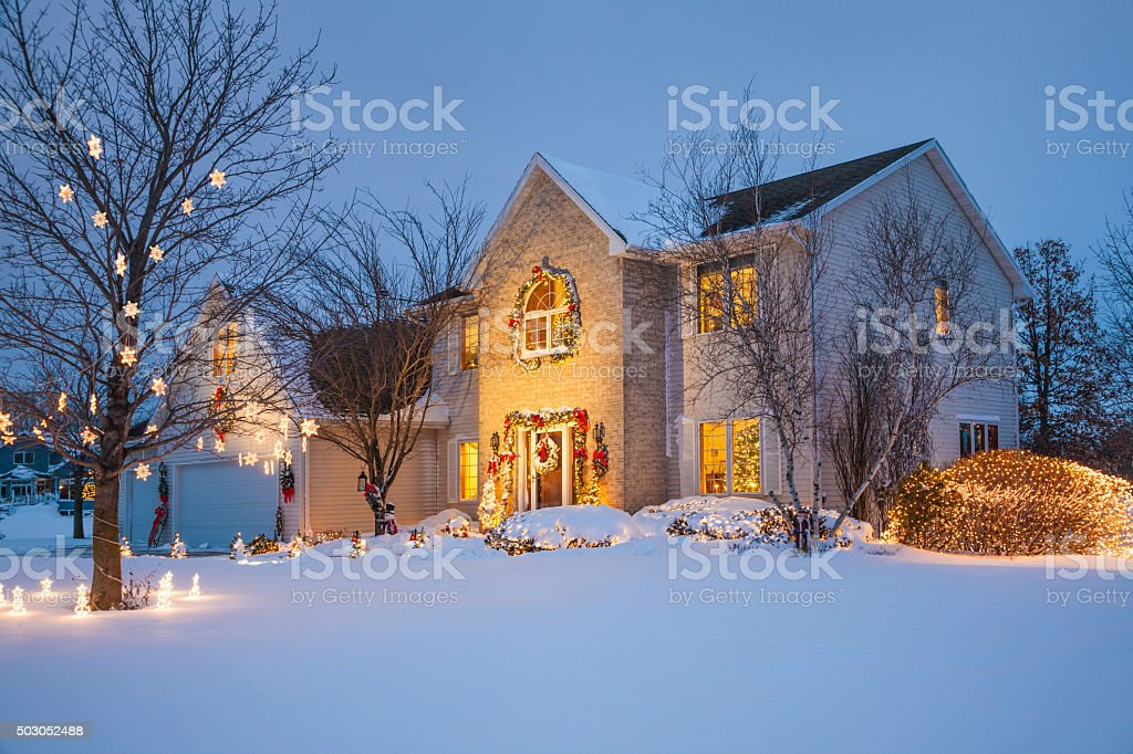 Christmas family home with festive Holiday decorations, covered in...