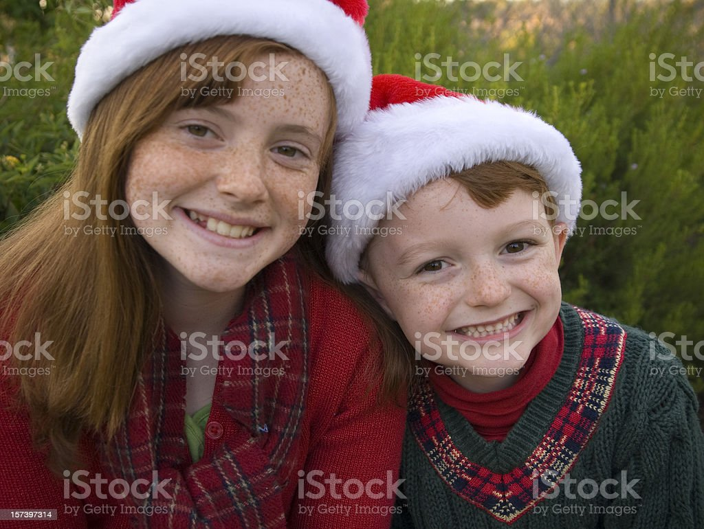Christmas Family Winter Holiday Portrait, Redhead Freckles Children Siblings royalty-free stock photo