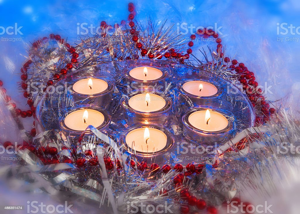 Christmas, festive candles stock photo