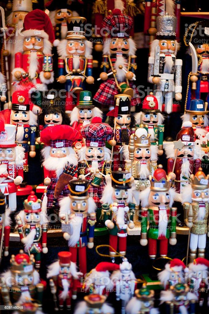 christmas figurine market - nutcracker stock photo