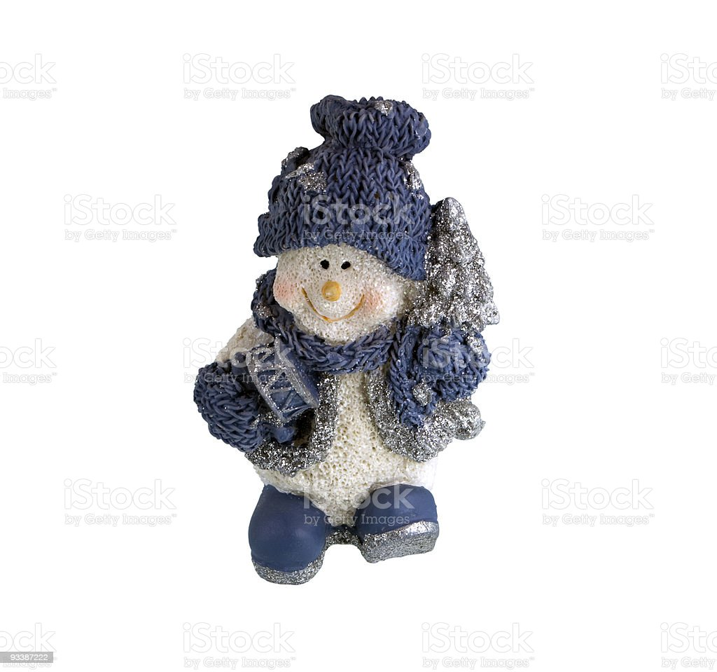 Christmas figurine of a snowman stock photo