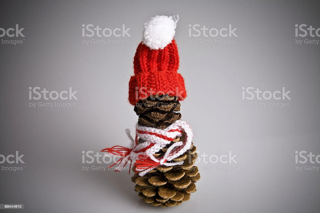 christmas fir cone with red bonnet and muffler stock photo
