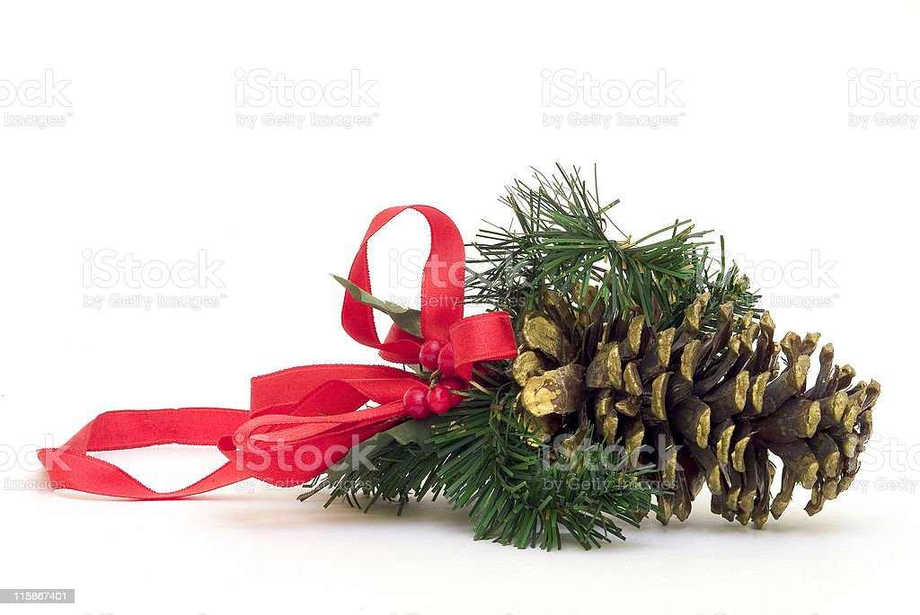 Christmas fir cone with red ribbon royalty-free stock photo