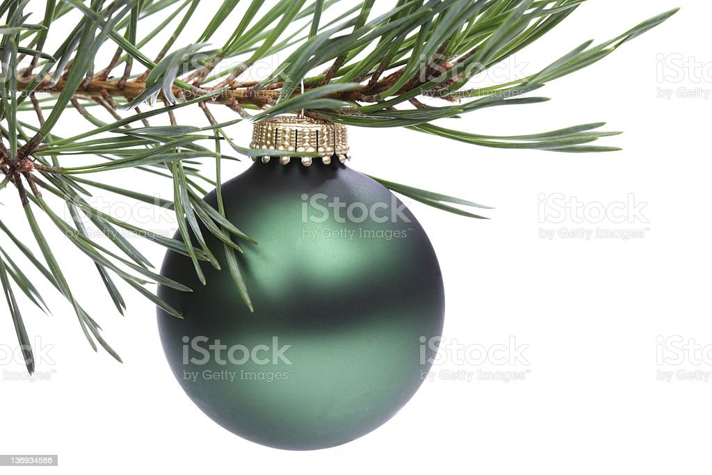 Christmas fir tree and green bauble stock photo