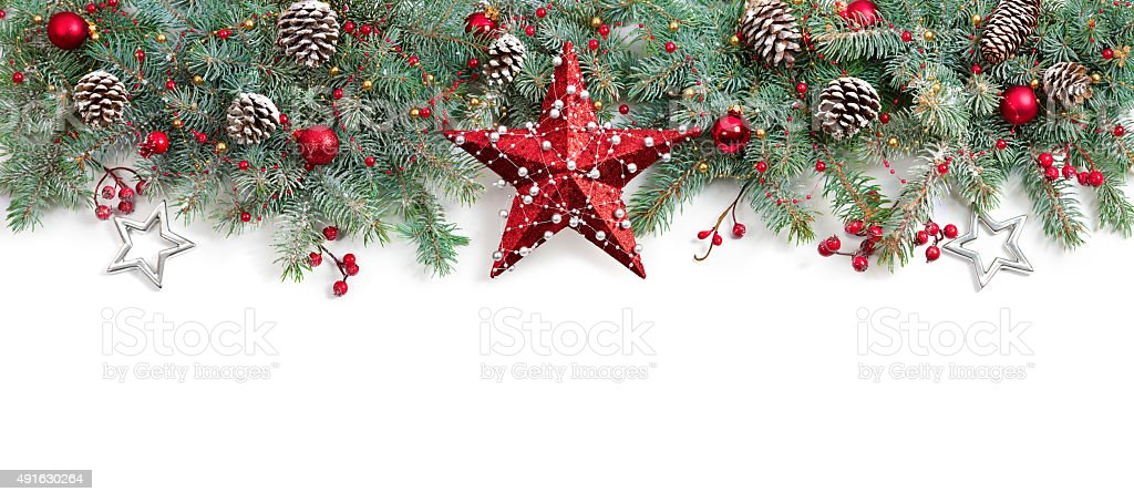 Christmas Fir Tree Decorated On White stock photo