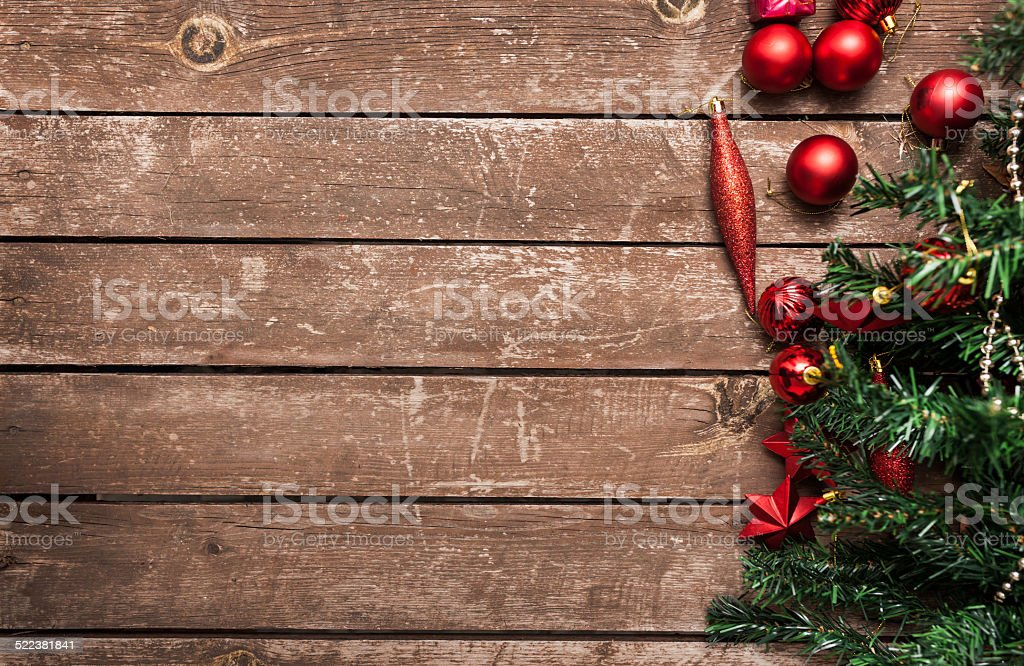 Christmas fir tree with baubles stock photo