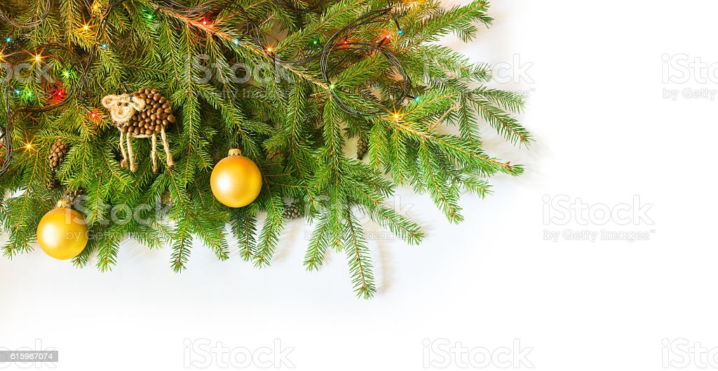Christmas fir tree with decoration on white background stock photo