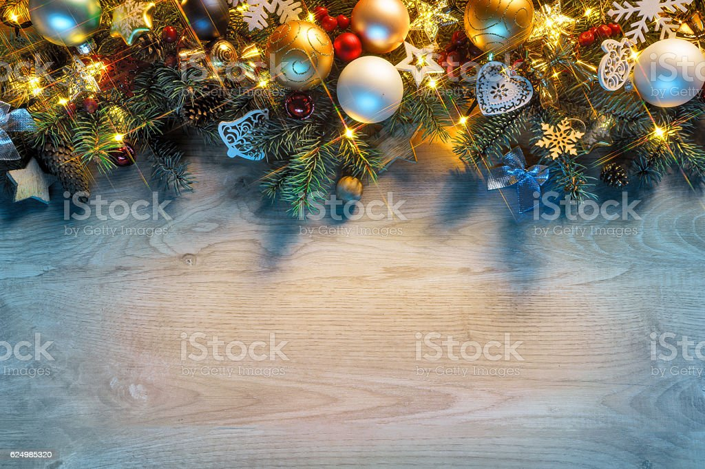 Christmas fir tree with lights stock photo
