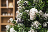 Christmas fir with white decoration