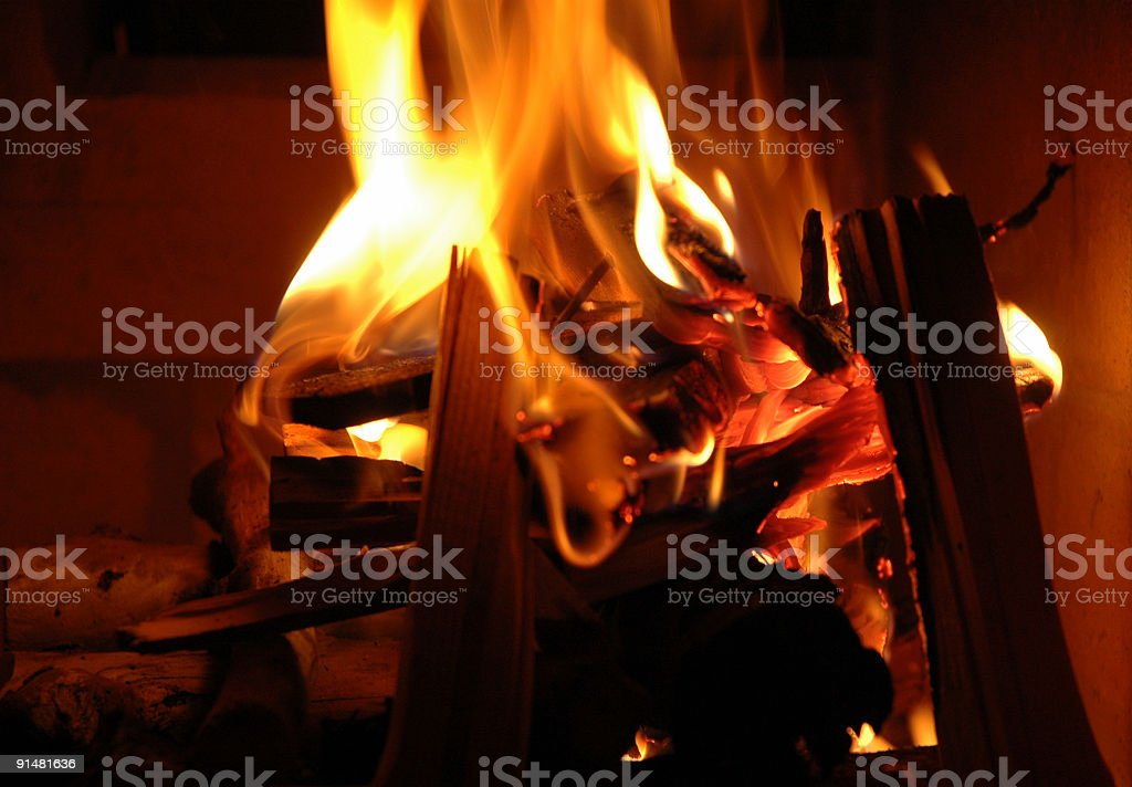 Christmas fire and flames stock photo