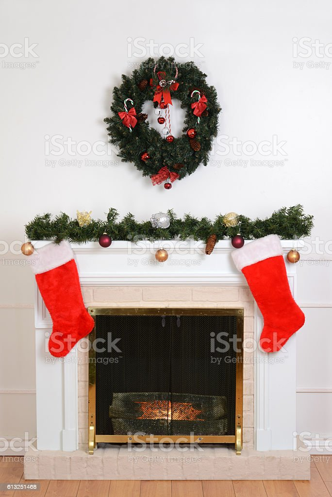 christmas fireplace with santa socks stock photo