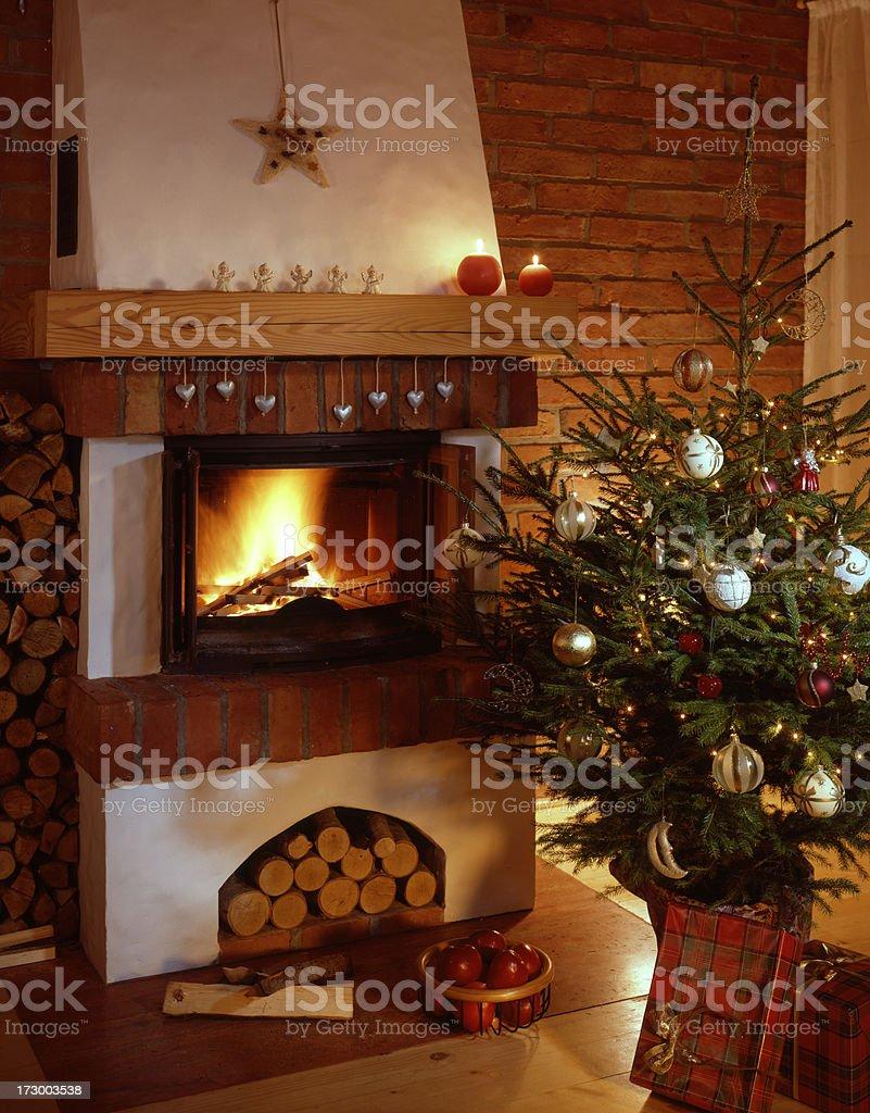 Christmas fireside. royalty-free stock photo