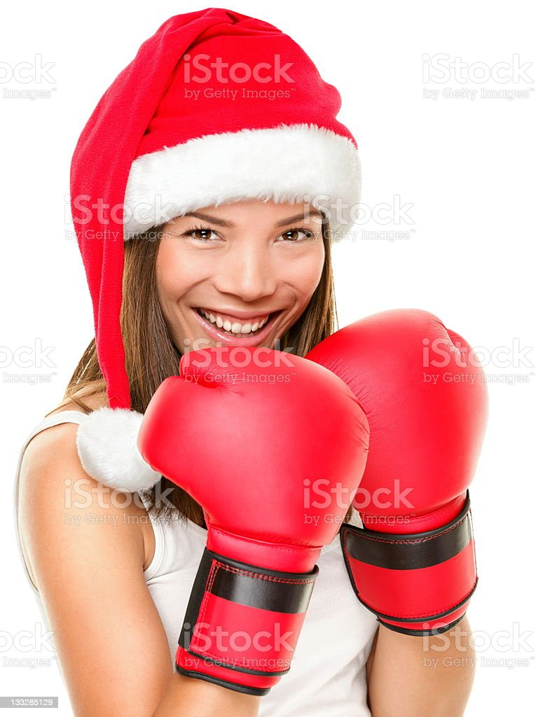 Christmas fitness boxing woman stock photo