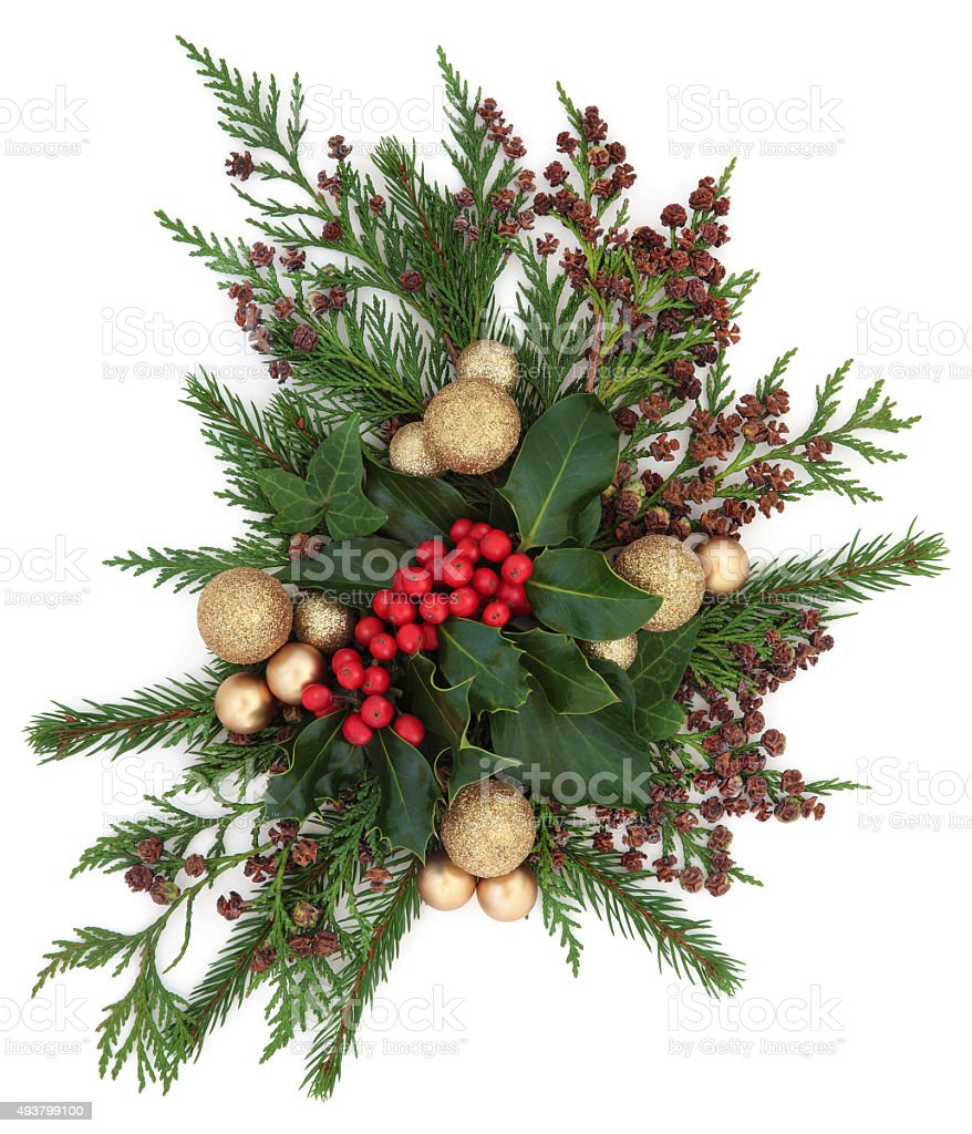Christmas Flora and Baubles stock photo
