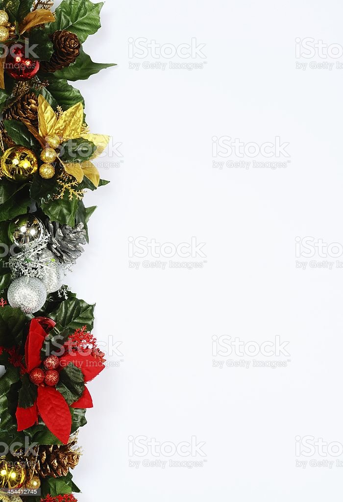 Christmas floral page border. royalty-free stock photo