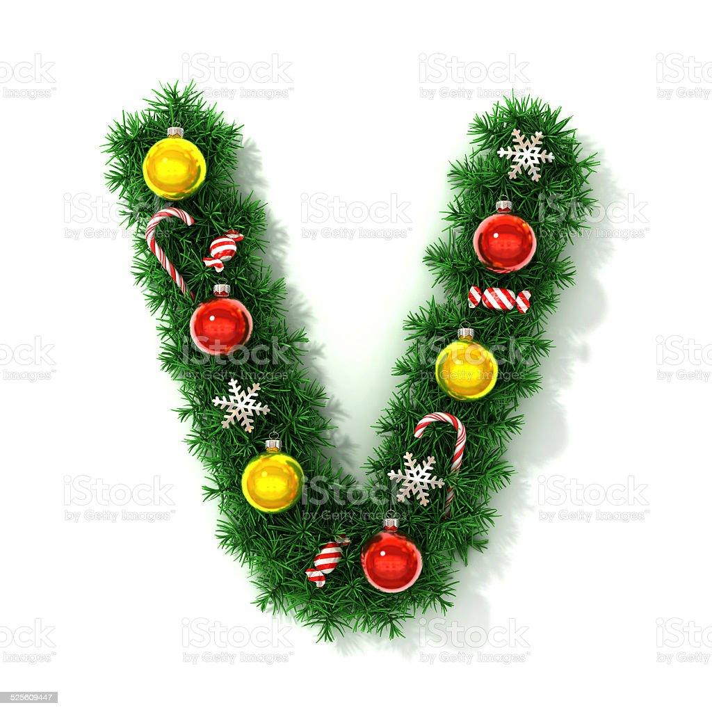 Christmas Font Letter V Royaltyfree Stock Photo