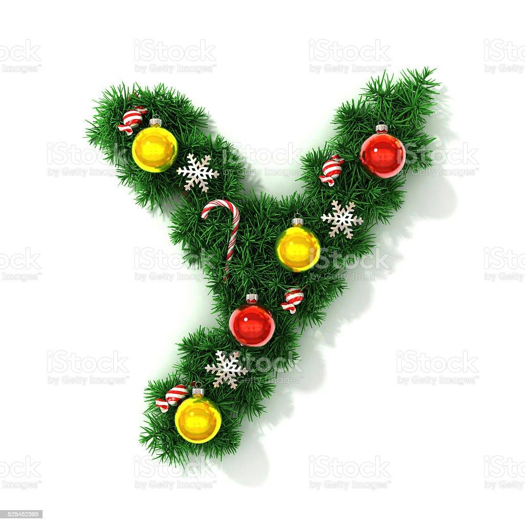 Christmas Font Letter Y Royaltyfree Stock Photo
