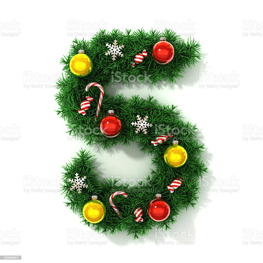 Christmas font number 5 stock photo