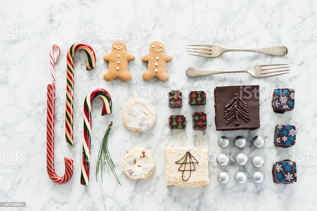 Christmas Food Knolling, Cookies, Squares, Brownie, Chocolates, Candy Canes, Candy stock photo