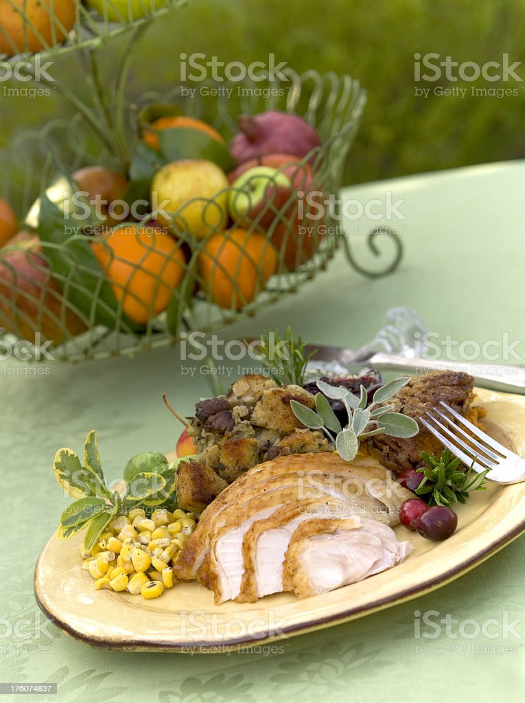 Christmas Food, Thanksgiving Roast Turkey Dinner on Outdoor Dining Table royalty-free stock photo