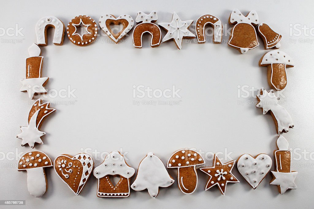 Christmas frame background of gingerbread stock photo