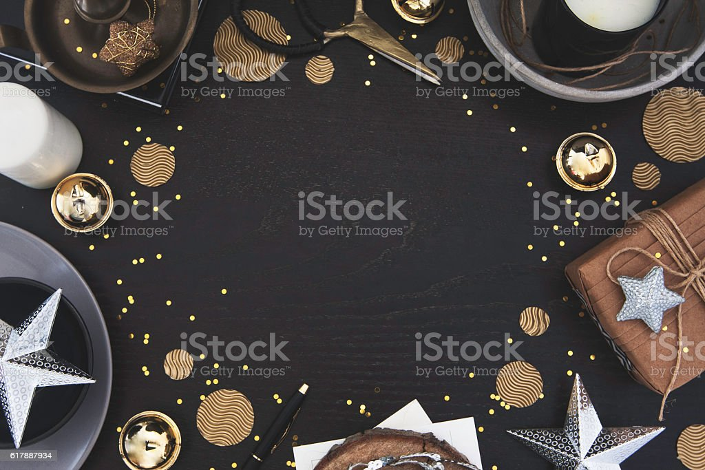 Christmas frame on dark wood with styled decor stock photo
