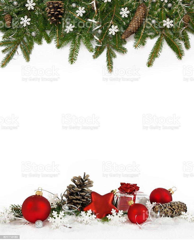 Christmas frame white snowflakes four-fifths stock photo